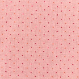Cotton chambray fabric - diamonds - pink x 10cm