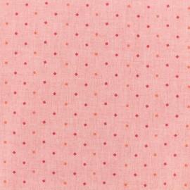 Tissu coton chambray - losanges - rose x 10cm