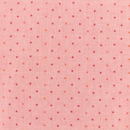 Cotton chambray fabric - diamonds - pink x 10cm