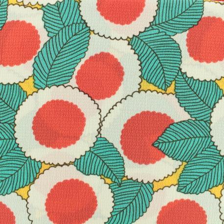 Tissu crêpe Georgette fleurs du soleil - vert/rouge/jaune x 20cm