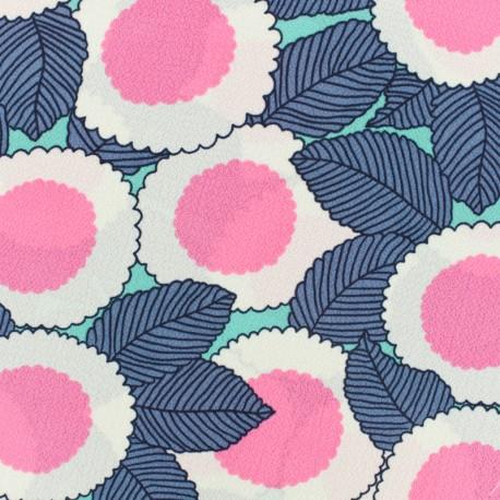 Tissu crêpe Georgette fleurs du soleil - bleu/turquoise/fuchsia x 20cm