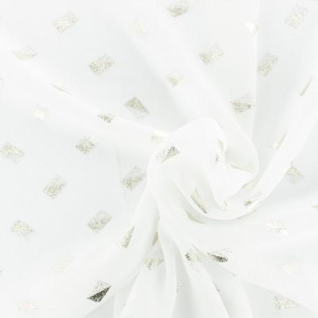 White muslin Fabric - gold pattern x 20cm