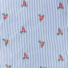 Tissu voile de coton brodé bleuet - rouge x 10cm
