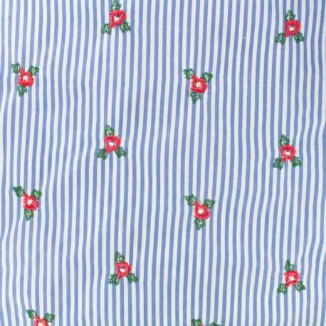 Tissu voile de coton brodé bleuet - bleu x 10cm