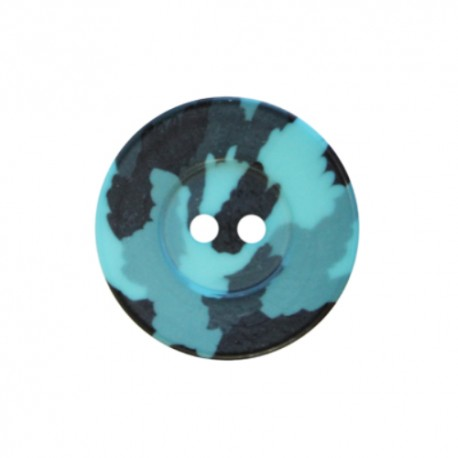 Polyester button Camouflage Army - turquoise