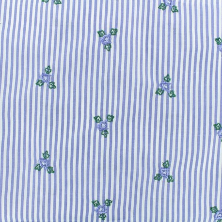 Fleur Embroidered Cotton voile Fabric - blue x 10cm