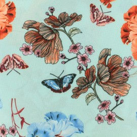 Georgette Crepe spring bloom - teal/orange/blue x 20cm