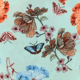 Tissu crêpe Georgette envolée de printemps - bleu/turquoise/orange x 20cm