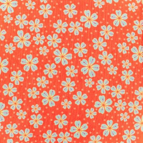 Tissu mousseline indian rhapsody - orange x 10cm