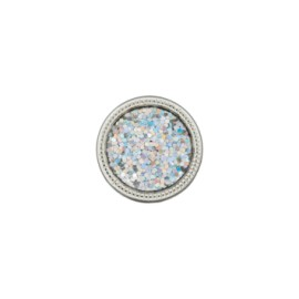 12 mm metallic aspect glitter polyester button - silver
