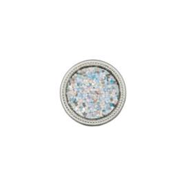 Bouton polyester métallisé paillette 12 mm - argent