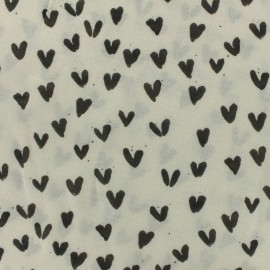 Coton viscose fabric - My heart is yours - black and white  x 10cm