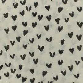 Tissu Viscose mon coeur est à toi - noir et écru x 10cm