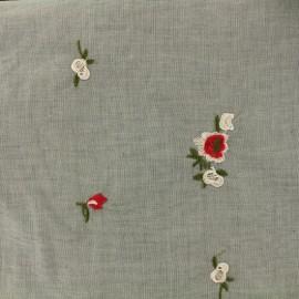 Tissu coton chambray La Maison Victor Conter fleurette - fond gris x 10 cm