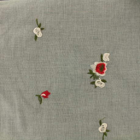 Embroidered cotton fabric flirt - grey background x 10 cm