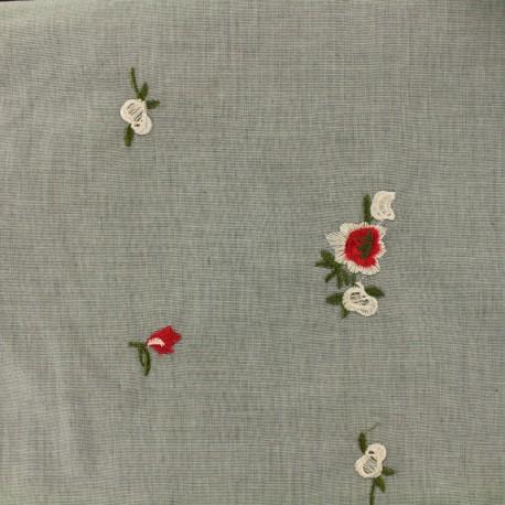 Tissu coton chambray Conter fleurette - fond gris x 10 cm