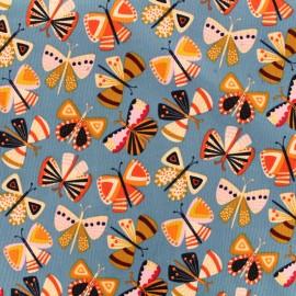 Tissu velours milleraies corduroy Dashwood - papillons x 10cm