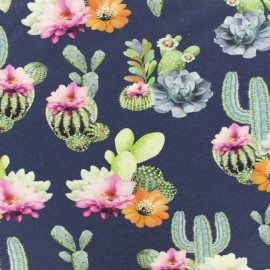 Oeko-Tex Jersey cotton fabric Stenzo cactus - blue x 20cm