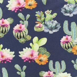 Tissu Oeko-Tex coton jersey Stenzo cactus - bleu x 20cm