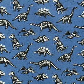 Tissu coton jersey Din'os - bleu x 10cm