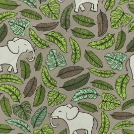 Tissu coton sweat léger Eléphant - taupe x 10cm