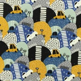 Tissu coton sweat léger graphic vehicule - bleu x 10cm