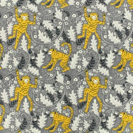 Jersey cotton fabric Funny Monkey - grey and yellow x 10cm