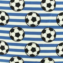 Tissu coton jersey Ballon rond - bleu x 10cm