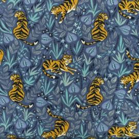 Tissu coton jersey Shere Khan - bleu x 10cm