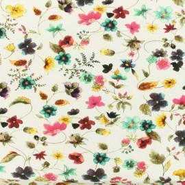 Tissu coton jersey Au jardin - blanc x 10cm