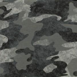 Tissu coton sweat léger camouflage - gris x 10cm