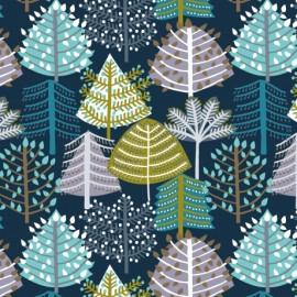 Tissu coton Dashwood Snow Forest - dans les arbres x 10cm