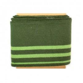 Bande bord côte rayures coton (108x7cm) - vert