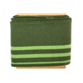 Striped cotton ribbed Cuffs (108x7cm) - green