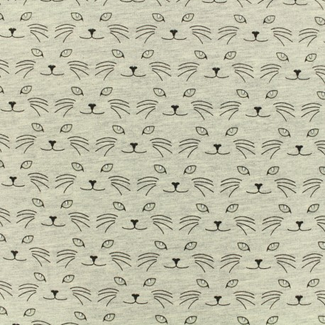 Phosphorescent Jersey Fabric - Cat's eyes - grey x 10cm