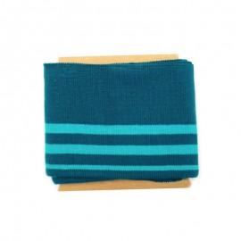 Bande bord côte rayures coton (108x7cm) - turquoise