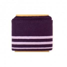 Bande bord côte rayures coton (108x7cm) - aubergine