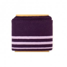 Striped cotton ribbed Cuffs (108x7cm) - eggplant