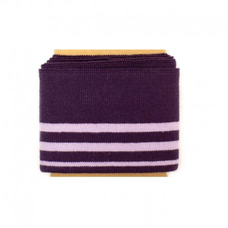 Striped cotton ribbed strip (108x7cm) - eggplant