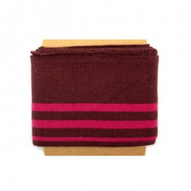 Striped cotton ribbed Cuffs (108x7cm) - burgundy