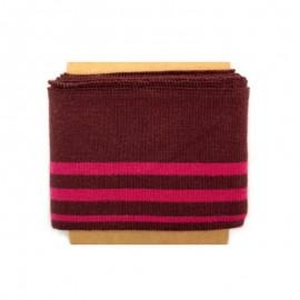Striped cotton ribbed Cuffs (108x7cm) - burgundy
