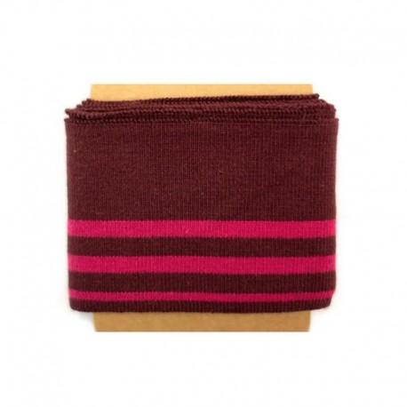 Bande bord côte rayures coton (108x7cm) - lie de vin