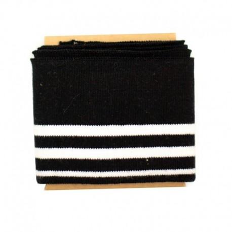 Bande bord côte rayures coton (108x7cm) - noir