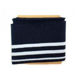 Bande bord côte rayures coton (108x7cm) - marine
