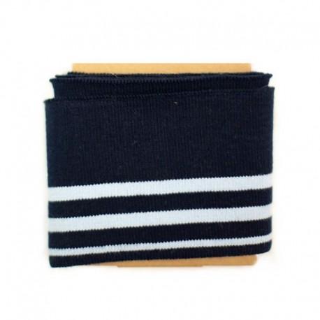 Striped cotton ribbed strip (108x7cm) - navy