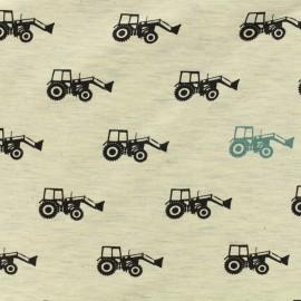 Tissu Poppy Oeko-Tex jersey - Tractor - écru chiné x 10cm