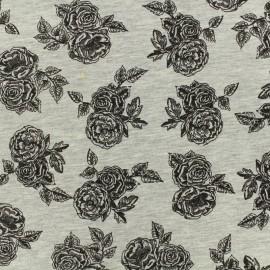 Tissu Poppy Oeko-Tex jersey - Romantic Rose - gris chiné x 10cm