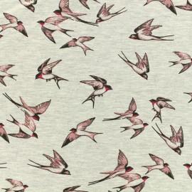 Tissu Poppy Oeko-Tex jersey - Birds - rose sur gris chiné x 10cm