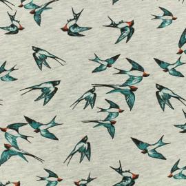 Tissu Poppy Oeko-Tex jersey - Birds - turquoise sur gris chiné x 10cm