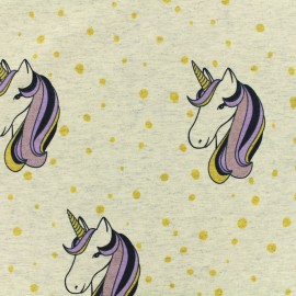 Tissu jersey Licorne à paillettes - gris chiné x 10cm